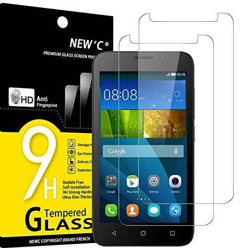 NEW'C 2 Stück, PanzerglasFolie Schutzfolie für Huawei Y5, Frei von Kratzern Fingabdrücken & Öl, 9H Festigkeit, HD Bildschirmschutzfolie, 0.33mm Ultra-klar, Ultrawiderstandsfähig