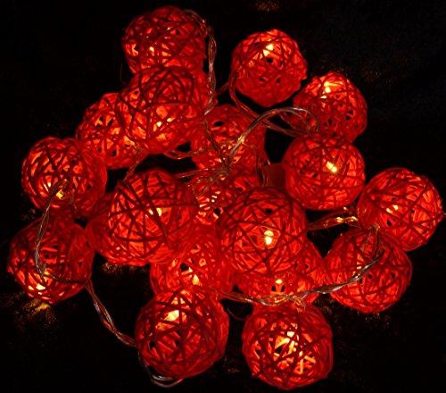 Guru-Shop Rotan Ball LED Ball Lamp Lampion Lichtketting - Rood, Rattan, Sprookjeslampen