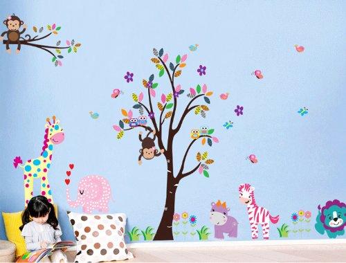 Rainbow Fox Autocollants muraux pour enfants chouette singe arbre, Vinyle, Rf5099, 2*60cm*90cm