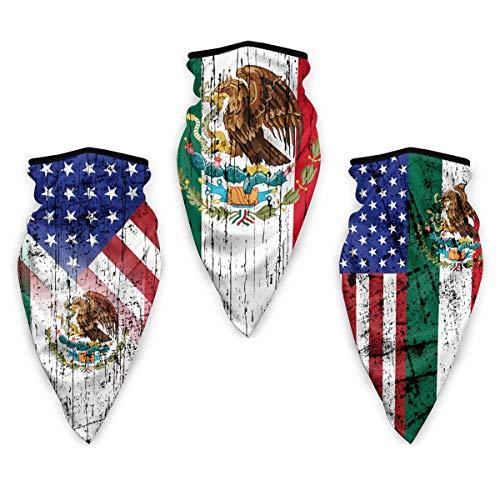 3pcs USA Meixco Distressed Flag Face Scarf Neck Gaiter Breathable Bandana Scarf Balaclava Headwear for Summer Dust Wind