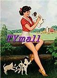 ALIALI KFQCIO Placa de metal retro de los años 40 Pin-Up Farm Girl Terrier Puppy Dog Decoración de p...