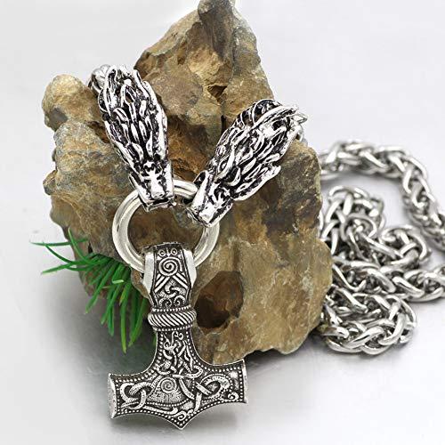 Collar Mjolnir cabeza de dragón vikingo hecho mano, colgante de martillo Thor celta nórdico, cadena ocho caracteres acero de titanio retro para hombre, joyería de amuleto pagano, regalo,70CM