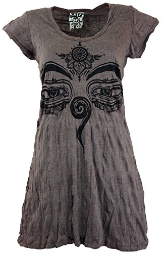 Guru-Shop Sure Long Shirt, Minikleid Buddhas Augen, Damen, Taupe, Baumwolle, Size:L (40), Bedrucktes Shirt Alternative Bekleidung