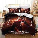 WMZ-SC The Flash - Juego de ropa de cama infantil (polialgodón, incluye funda de almohada de 50 x 75 cm y 80 x 80 cm (6,155 x 220 cm)