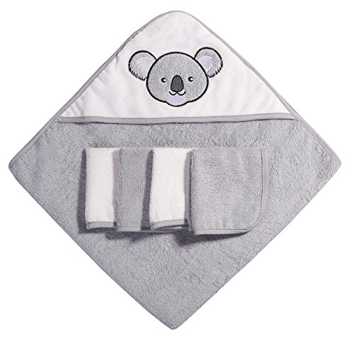 Ramees Baby Hooded Towel and Washcloths Bath Set, 5 Pack, Grey Koala