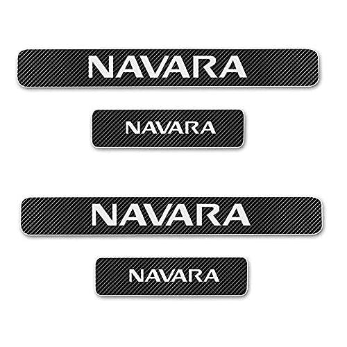 WW87 4 unids coche umbral protector de puerta de fibra de carbono, para Nissan Navara umbral bienvenida pedal protección anti-arañazos auto styling Modificatio Accesorios (blanco)