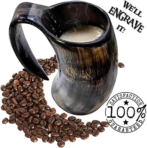 AleHorn - Hot Viking Horn Mug - Safely Holds Hot and Cold Liquids Coffee Tea Hot Chocolate Wine Beer...