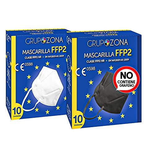 20 uds. Mascarillas FFP2 Pack 2 colores (Negro + Blanco), homologadas CE 0598 EN 149: 2001+A1: 2009, filtrado de 5 capas - Mascarillas ffp2 SIN GRAFENO