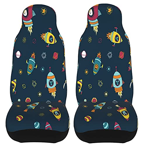 IBILIU Car Seat Covers Set Of 2 Animal Astronaut,Planets Stars Mouse Cat...