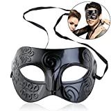 WINOMO Roman Masquerade Mask Black Venetian Mask Men Women Christmas Party