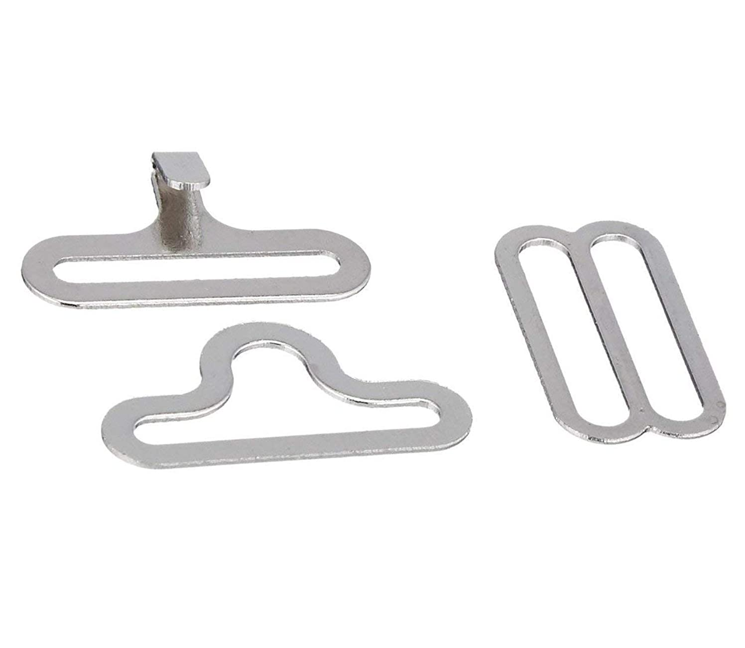 50 Set Bow Tie Hardware Clips Fasteners to Make Adjustable Straps on Bow Ties/Neckties Tie Accessories (Silver)