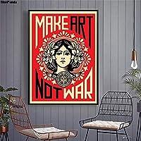 キャンバスペインティング アートを戦争ではない反戦平和ポスターヴィンテージミニマリストアートキャンバスプリント壁の写真モダンなホームルームの壁の装飾 50x75cm