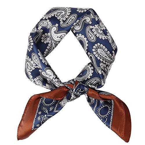 DAMILY - Pañuelo cuadrado suave de seda, diseño de paisley azul marino M