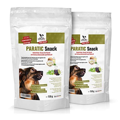 DOGS-HEART PARATIC Snack mit Schwarzkümmelöl und Kokosöl (2 x 150g) - Natürlicher Snack für Hunde (2 Monatspackungen für Hund mit ca. 15kg)
