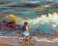 サイクリスト自転車チャイルドアートシーショアDiyデジタルペインティングナンバーズモダンウォールアートキャンバスペイントホリデーギフト家の装飾ビッグサイズオイルペイントカラー原稿 カスタマイズ可能 40x50cm DIYフレーム