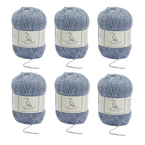 TEHETE Ovillo de lana, Hilados lana merino,6 Bolas x 50g, Hilo para manta,suéter calcetín, bufanda, diy, ganchillo y tejido-Gris
