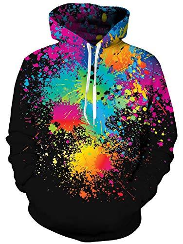 TUONROAD Uniseks 3D hoodie heren capuchontrui bont lange mouwen trekkoord pullover sweatshirt met zak M-XXL