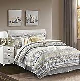 R2Zen Chloe Comforter Set, King, Yellow/Grey
