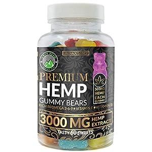 Hemp Gummies Premium 3000 Milligram High Potency - 50 Per Fruity Gummy Bear with Organic Hemp Extract Oil | Rich in Omega 3-6-9