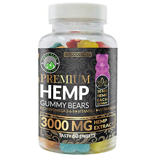 Hemp Gummies Premium 3000 Milligram High Potency - 50 Per Fruity Gummy Bear with Organic Hemp Extract Oil | Rich in Omega 3-6-9
