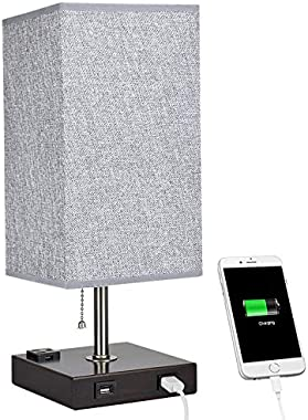 DLLT Bedside Table Lamp with 2 USB Port, Metal Lamp for Desk, Led Modern Night Table Light with Outlet Power Strip for Bedroo