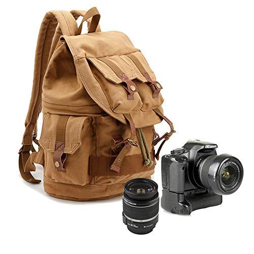 Bolsa de cámara, lona SLR para cámara de fotos, bolsa de hombro, gran capacidad, impermeable, a prueba de golpes, mochila de viaje para cámara, Khaki (Verde) - LW-344