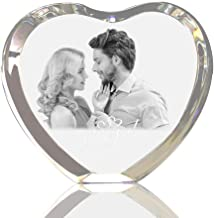 Picture Frame - Personalized Custom 2D/3D Laser Engraved Crystal Frame Heart Shaped Etched Glass Photo Picture Heart Block for Wedding Gifts