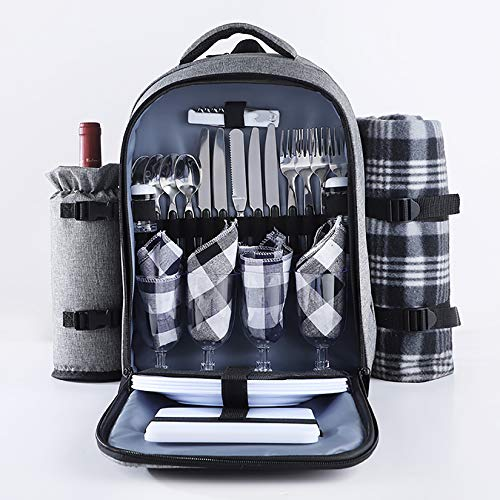 YUDIZWS Multifunctional Portable Waterproof Picnic Backpack with 4 Person Complete Tableware Bottle Holder Picnic Blanket, Insulated Kit for Family Outdoor Camping,Gray