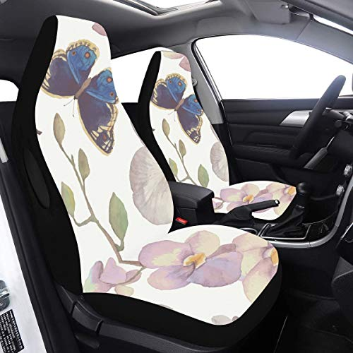2 Pcs Set Cover Kids Car Girls Butterfly Fairy With Flowers Travel Car Seat Cover Compatible for Airbags Universal Fit for Cars Trucks and SUVs Car Seat Housses Sets