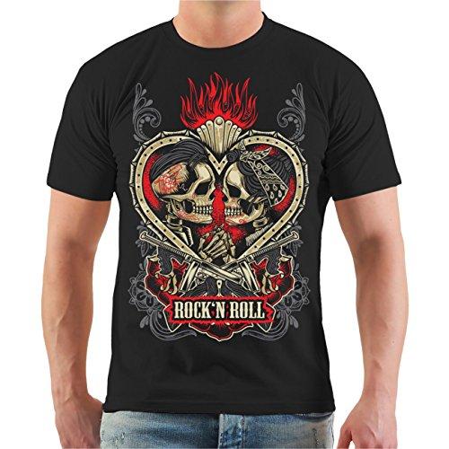 Männer und Herren T-Shirt Rockn Roll Rockabella Rockabilly Größe S - 8XL