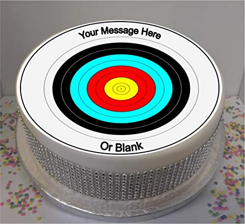 """Personalised Archery Target 19cm / 7.5"""" Edible Icing Cake Topper - Please leave personalisation as a Gift Message (5 - 10 BUSINESS DAYS DELIVERY FROM UK)"""
