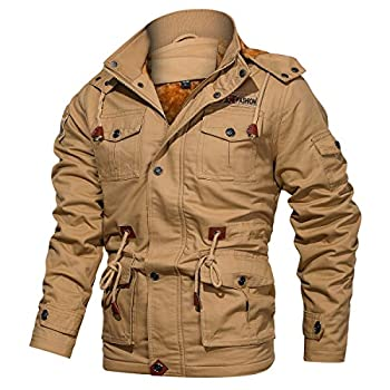 CARWORNIC Men s Winter Warm Military Jacket Thicken Windbreaker Cotton Cargo Parka Coat with Removable Hood Khaki