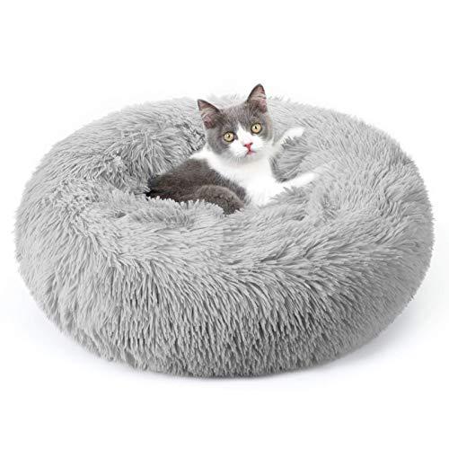 Rabbitgoo: Cama Gato Antiestrés, Relajante, con Felpa Suave, Antideslizante, Lavable a Máquina (50 x 50 x 12cm, Gris)
