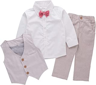 XM Nyan May's Baby Boys Long Sleeves Four Piece Vest Set with Bowtie