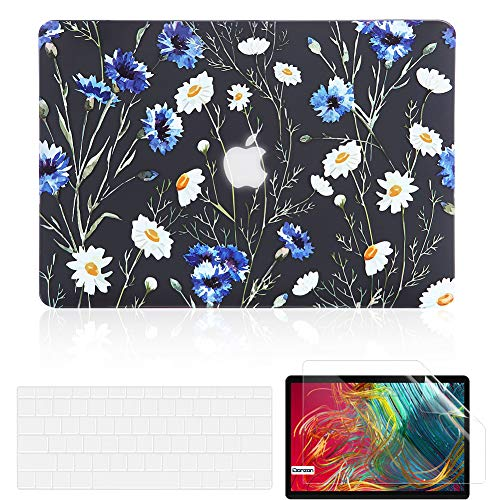 iDonzon Case for MacBook Pro 13 inch M1 A2338 A2289 A2251 2020 Release, Matte Black Hard Cover & Keyboard Cover & Screen Protector Compatible with Mac Pro 13.3 with Touch ID - Floral