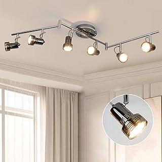 DLLT - Foco LED de techo giratorio, 6 bombillas LED de 3 W, GU10, 1440 lm, 3000 K, luz blanca cálida, para salón, cocina, dormitorio, oficina