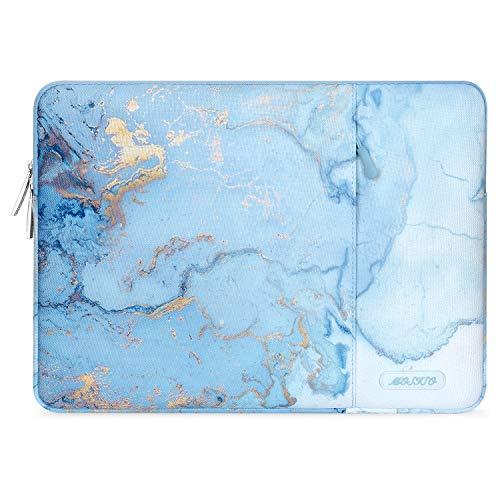 MOSISO Funda Portátil Compatible con MacBook Pro 15 Pulgadas Touch Bar A1990 A1707/ThinkPad X1 Yoga/14 DELL HP Acer/Surface Laptop 2019 3 15,Bolsa Blanda de Poliéster Vertical Mármol Acuarela,Turquesa