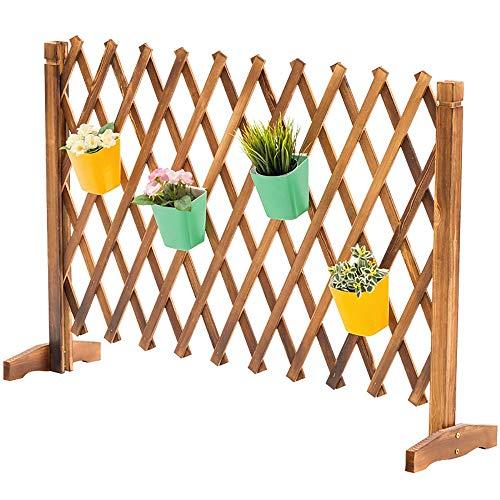 Yhjkvl Soporte de almacenamiento para plantas y soporte plegable de madera maciza, soporte de flores para interior o para decoración de macetas (color: color carbono, tamaño: 200 x 85 cm)
