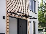 Schulte Vordach Haustür Überdachung 200x90 cm Stahl Anthrazit rostfrei Polycarbonat Durchgehend Transparent Pultvordach Style Plus