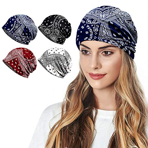 Cotton Face Bandanas for Sports Headwear Headband Neck Gaiter Chemo Cap Hair Loss Beanie Nightcap, B-1401Pack