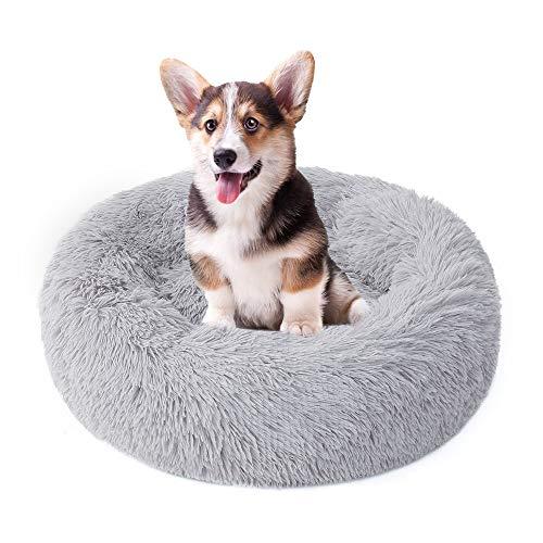 LZYMSZ Hundebett, Plüsch-Donut-Haustierbett, abnehmbar, maschinenwaschbar, extra weich, gegen Angst bei Hunden, Hellgrau (60 cm Durchmesser)