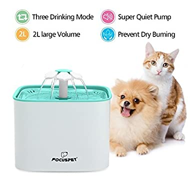 FOCUSPET Cat Fountain, 2L Pet Flower Fountain Automatic Electric Pet Water Dispenser, Pet Health Caring Fountain for Cat and Small Dog/Animals