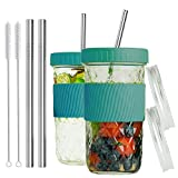 Reusable Smoothie Cups Boba Tea Cups with Lid and Straw,Bubble Tea Cup Glass Tumbler Trave...