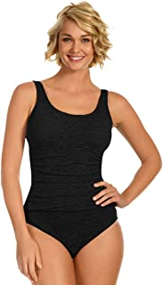 Krinkle Plus Size Long Torso Shirred One Piece Chlorine Resistant Swimsuit Black 24W