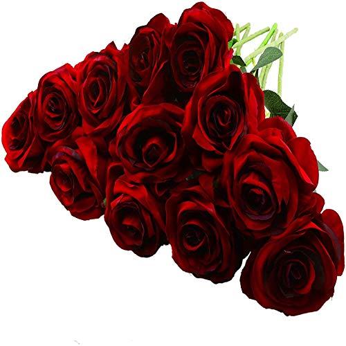 YYHMKB 12 Piezas de Rosas Artificiales, 19,7 Pulgadas de Flores de Seda de Tallo Largo único Ramo de Rosas realistas para la decoración de la Oficina del Banquete de Boda en casa, Borgoña