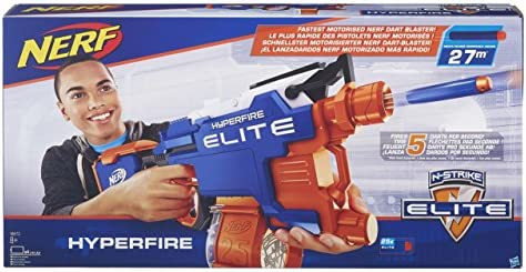 Nerf N-Strike Elite HyperFire Blaster & Amazon Basics D Cell Alkaline Batteries [Pack of 12]