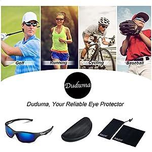 Duduma Gafas de Sol Deportivas Polarizadas Para Hombre Perfectas Para Esquiar Golf Correr Ciclismo TR90 Súper Liviana Para Hombre y Para Mujer (marco mate negro con lente azul)