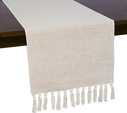 Wracra Braided Cotton Linen Table Runner 13 x 72 inch Farmhouse Burlap Table Runner Jute Rustic product image