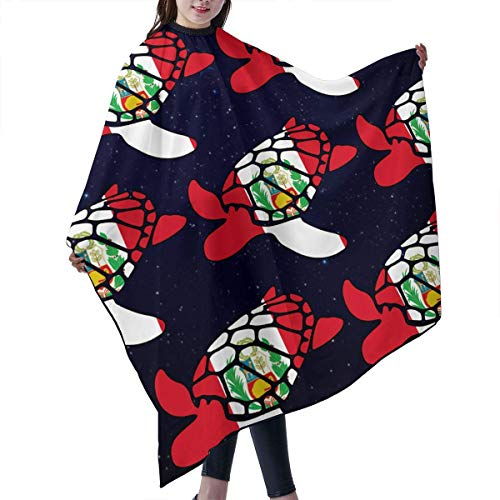 Peru Flag Sea Turtle Unisex Salon Barber Gown Cape for Men's Women'sstylists and Barbers at Home Barbershop Or Hair Salon Haircut Apron 55 66 in