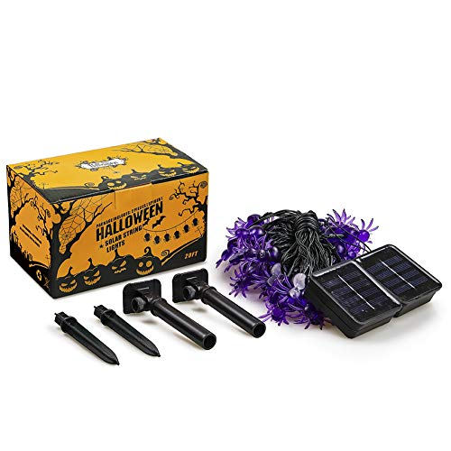 Qunlight Halloween Solar String Lights, 2Pack 30 LED 20ft Purple Spider String Lights with 8 MODES Waterproof Fairy Lights for Halloween Party Decor, Halloween Lighting, House, Garden, Yard Decoration